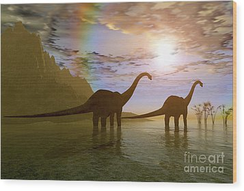 Two Diplodocus Dinosaurs Wade Wood Print by Corey Ford