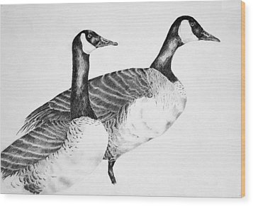 Two Geese Wood Print by Mick Gwin