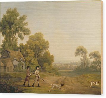 Two Gentlemen Going A Shooting Wood Print by George Stubbs