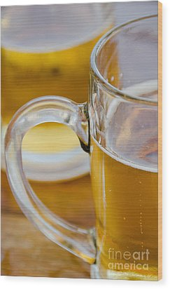 Two Glasses Of Beer Wood Print by Yurix Sardinelly