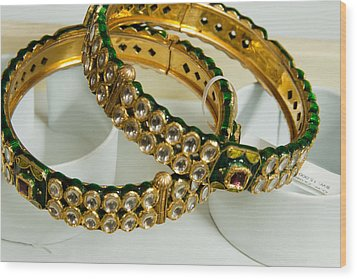 Two Green And Gold Bangles On Top Of Each Other Wood Print by Ashish Agarwal