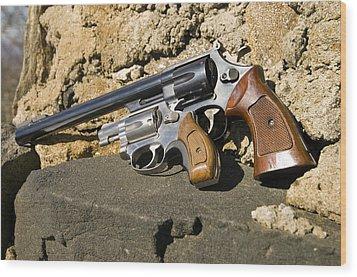 Two Hand Guns Wood Print by Susan Leggett