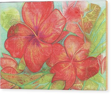 Wood Print featuring the painting Two Hibiscus Blossoms by Carla Parris