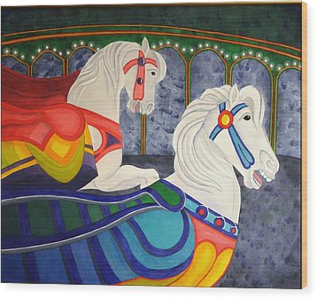 Wood Print featuring the painting Two Horse Metamorphosis by Paul Amaranto