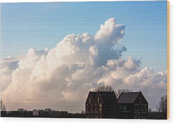 Two Houses One Cloud Wood Print by Semmick Photo