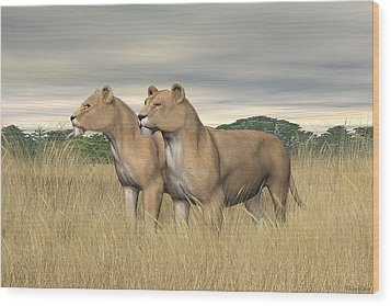 Wood Print featuring the digital art Two Hunters by Walter Colvin