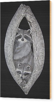 Two In A Tree Wood Print by Janet Knocke