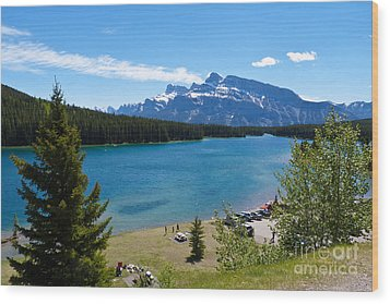 Two Jack Lake Wood Print by Bob and Nancy Kendrick