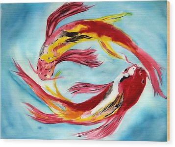 Wood Print featuring the painting Two Koi For Words by Alethea McKee