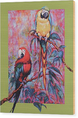 Wood Print featuring the painting Captive Birds Of The Rain Forest by Charles Munn