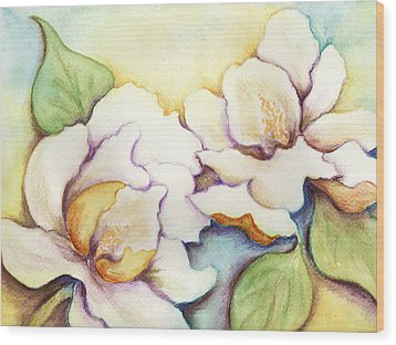 Wood Print featuring the painting Two Magnolia Blossoms by Carla Parris