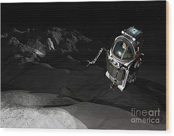 Two Manned Maneuvering Vehicles Explore Wood Print by Walter Myers