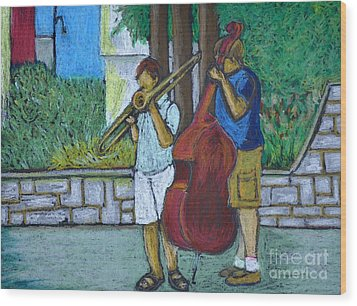 Two Musicians Wood Print by Reb Frost