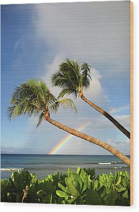 Two Palm Trees On Beach And Rainbow Over Sea Wood Print by Robert James DeCamp