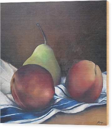 Two Peaches And A Pear Wood Print by Julie Dalton Gourgues