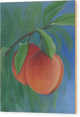 Two Peaches Wood Print by Mary Rogers