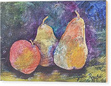 Two Pears And An Apple Wood Print