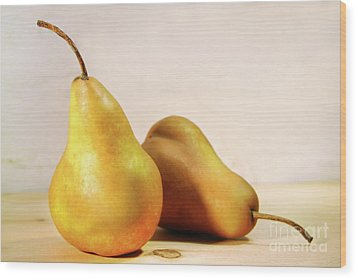 Two Pears Wood Print by Sandra Cunningham