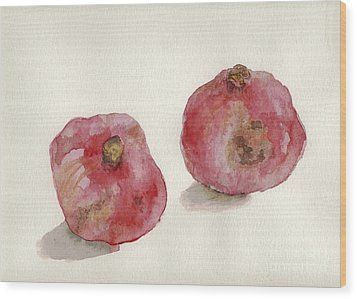 Wood Print featuring the painting Two Pomegranates  by Annemeet Hasidi- van der Leij