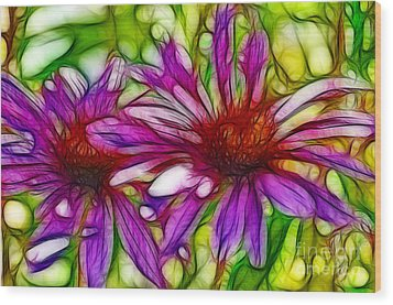 Two Purple Daisy's Fractal Wood Print by Donna Greene