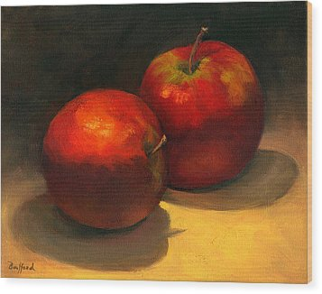 Wood Print featuring the painting Two Red Apples by Vikki Bouffard