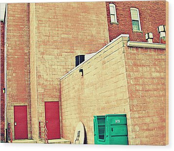Wood Print featuring the photograph Two Red Doors - Two Little Windows by MJ Olsen