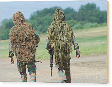 Two Snipers Of The Belgian Army Dressed Wood Print by Luc De Jaeger