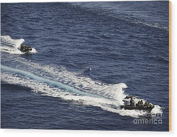 Two Spanish Navy Ridged-hull Inflatable Wood Print by Stocktrek Images