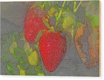 Two Strawberries Wood Print by David Lee Thompson