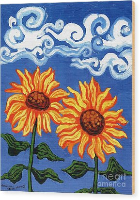 Two Sunflowers Wood Print by Genevieve Esson