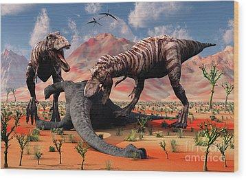 Two T. Rex Dinosaurs Feed Wood Print by Mark Stevenson