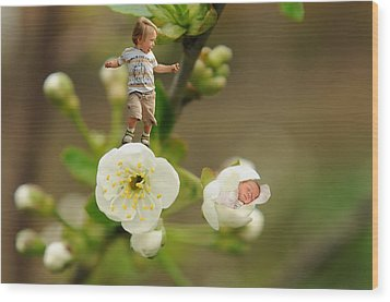 Two Tiny Kids Playing On Flowers Wood Print by Jaroslaw Grudzinski