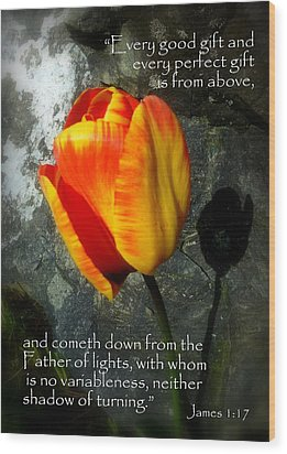 Two Tulips Shadow Scripture Wood Print by Cindy Wright