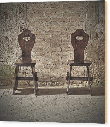 Two Wooden Chairs Wood Print by Joana Kruse