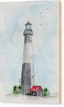 Tybee Light Wood Print by Doris Blessington