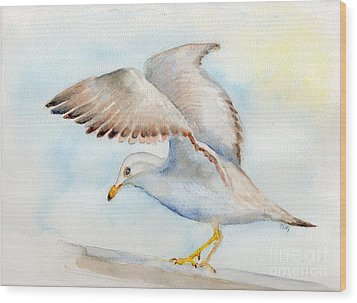 Tybee Seagull Wood Print by Doris Blessington