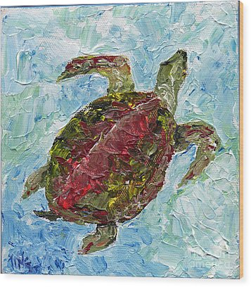 Wood Print featuring the painting Tybee Turtle Swimming by Doris Blessington