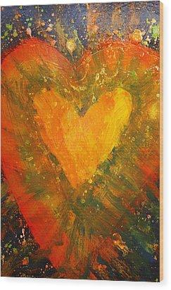 Tye Dye Heart Wood Print by James Briones