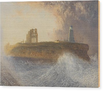 Tynemouth Pier Wood Print by Alfred William Hunt