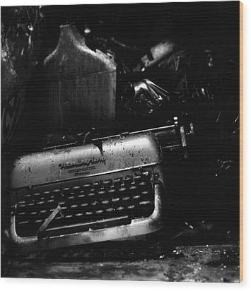 Typewriter Wood Print by Eric Tadsen