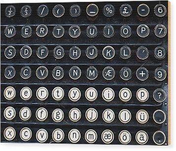 Typewriter Keyboard Wood Print by Hakon Soreide