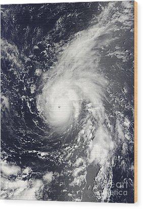 Typhoon Vamco In The Pacific Ocean Wood Print by Stocktrek Images