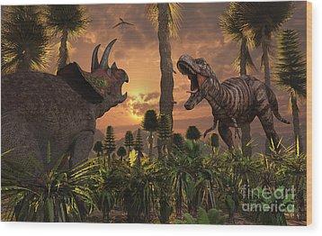 Tyrannosaurus Rex And Triceratops Meet Wood Print by Mark Stevenson