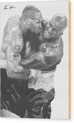Tyson Vs Holyfield Wood Print