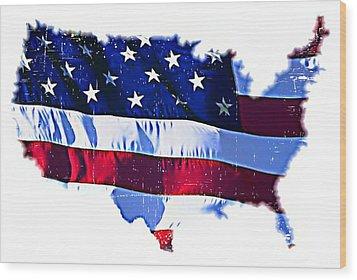 U. S. A. Wood Print by ABA Studio Designs