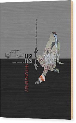 U2 Poster Wood Print by Naxart Studio