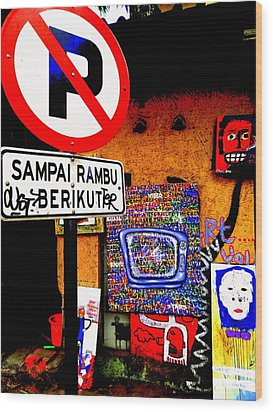 Ubud Art Street  Wood Print by Funkpix Photo Hunter