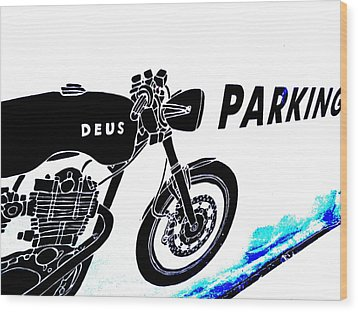Ubud Motorbike Parking  Wood Print by Funkpix Photo Hunter