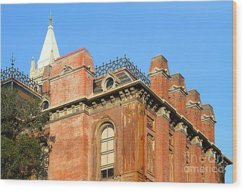Uc Berkeley . South Hall . Oldest Building At Uc Berkeley . Built 1873 . The Campanile In The Backgr Wood Print by Wingsdomain Art and Photography