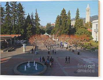 Uc Berkeley . Sproul Hall . Sproul Plaza . Sather Gate And Sather Tower Campanile . 7d10003 Wood Print by Wingsdomain Art and Photography